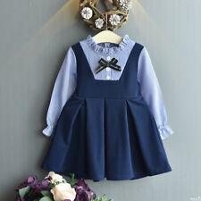 Toddler Baby Girl Wedding Party Princess Dress Autumn Striped Korean Dress Skirt
