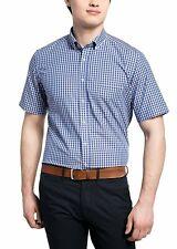 Eterna caballero camisa manga corta Modern fit multicolor a cuadros con Patch 8637.16.c143
