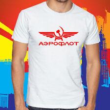 New Aeroflot Russian Airline Logo Men's White T-Shirt Size S to 3XL