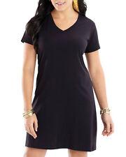 LAT Women's Comfortable Needle Hem Sleeve Bottom V Neck T-Shirt Dress. 3522
