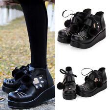 schwarz lolita Shoes Schuhe gothic goth platform cosplay Damen Katze Halbschuhe