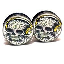 Pair Acrylic Ear Plugs Screw Gauges Flesh Tunnels Earrings - Skull & Headphones