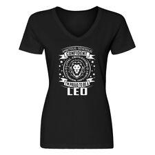 Womens Leo Astrology Zodiac Sign V-Neck T-shirt #3585