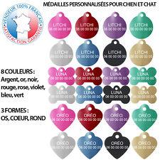Médaille pour chien et chat personnalisée gravée 2 lignes | 8 couleurs 3 formes