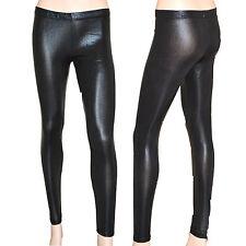 Leggings donna leggins neri pantaloni pantacollant fuseaux skinny sexy pelle S2