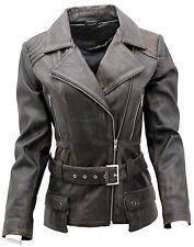 Ladies Black Vintage Long Feminine Leather Biker Jacket