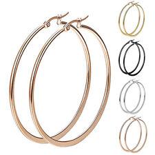 2 Pair Women Girl Stainless Steel Smooth Big Large Hoop Earrings Jewelry 40-60mm
