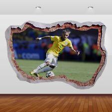 Neymar Jr Brésil PSG Barcelone 3d Smashed Mur Vue Autocollant Poster Vinyle 872