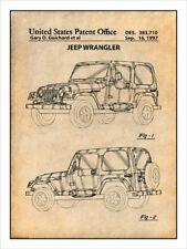 1997 Jeep Wrangler Patent Print Art Drawing Poster 18X24