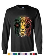 Rasta Lion with Headphones Long Sleeve T-Shirt Jamaica Jah 420 Weed Tee Shirt