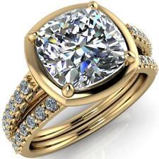 Brilliant 2.50 ct Cushion Cut Diamond Bridal Set Yellow Silver