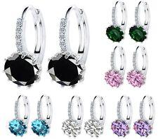 Silver Amethyst Blue Sapphire Diamonique Topaz CZ Stud Hoop Earrings Gift Box