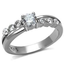 2865 STAINLESS STEEL  SIMULATED DIAMOND RING WOMENS ELEGANT ETERNITY ENGAGEMENT