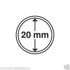 Capsules plastique rondes pour pièces de 10 centimes d'euro diametre 20 mm
