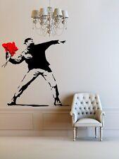 Banksy Fleur lance Autocollant Mural Amovible Wall Art Autocollant Décoration 110 cm x 110 cm