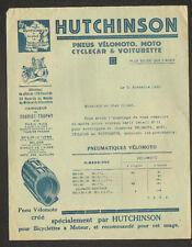 "PARIS (VIII°) PNEUS VELO MOTO SIDECAR VOITURETTE ""HUTCHINSON"" Tarifs en 1925"