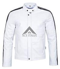Mens Leather Jacket White Black Stripe Biker Rider Style REAL NAPA Jacket 3890