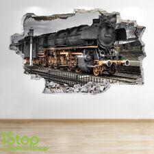 STEAM TRAIN WALL STICKER 3D LOOK - BOYS KIDS BEDROOM TRAIN WALL DECAL Z641
