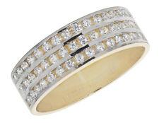Solido anello nuziale oro giallo e bianco Oro Tre Row Taglia M-U