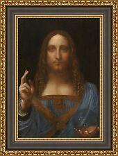 "Leonardo da Vinci Salvator Mundi Framed Canvas Giclee Print 20""x27"" (V03-17)"