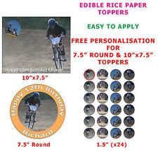 Personnalisé vélo bmx racing birthday cake / cupcake toppers sur papier de riz