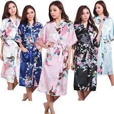 Sexy Silk Peacock Women Bridal Bridesmaid Kimono Robe Satin Night Dress Gown