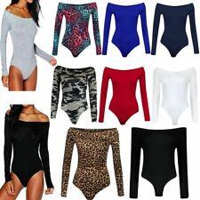 Womens Off Shoulder Long Sleeve Bardot Bodysuit Ladies Summer Wear Leotard Top
