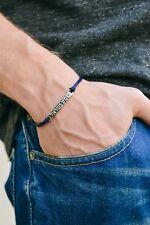 Men's bracelet with hebrew sentence: 'shema israel', blue cord