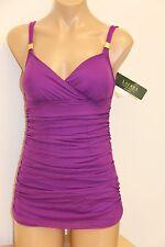 NWT Ralph Lauren Swimsuit 1 one piece Attached Shirred Dress Purple