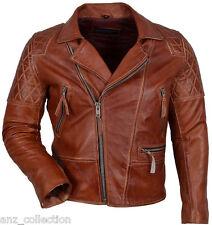 Desprado Men's Chestnut Biker Motorcycle Real Italian Premium Leather Jacket