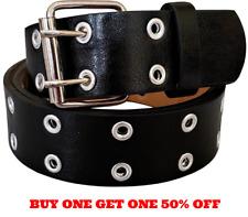 Men's Women's Leather Two Rows Silver Grommet Double Holes Black Belt All Sizes