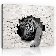 Wandbild  Leinwandbild Kunstdruck 10400_PP-1 Canvas Picture Print 3D Tiger kommt