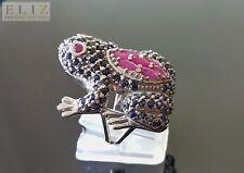 Sterling Silver 925 Frog Ring Genuine Precious Sapphire Ruby SZ 6,7,8,9,10