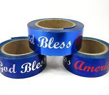 "10 Yds Patriotic Blue God Bless America Splendorette Ribbon 7/8""W L or D"
