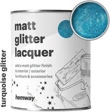 Hemway Turquoise Glitter Matt Varnish Lacquer Protective Indoor Outdoor