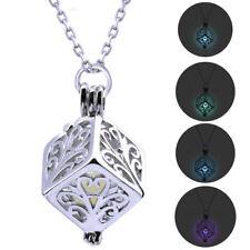 Collana ciondolo mistico fluorescente pendente luminoso Cubo pietra luminosa