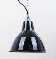 Fabriklampe 25cm schwarz rund Emaille Lampe Enamel Industrial Lighting