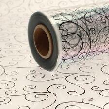 BLACK SCROLL CELLOPHANE WRAP  1M - 100 METERS  - CHOOSE YOUR LENGTH 80CM WIDE
