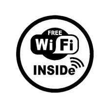 "8"" In ROUND WIFI Free Spot Vinyl Decal Sticker Coffee Shop Sign Restaurant Store"
