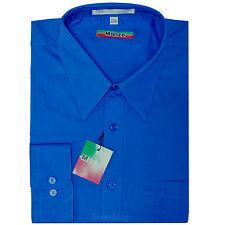 New men's shirt dress formal long sleeve prom wedding pointed collar royal blue