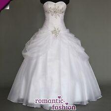♥Brautkleid Hochzeitskleid mit Strass Weiß Größe 34 bis 54 zur Auswahl+NEUW088♥