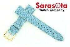 deBeer Genuine Lizard Blue/Violet 16/14 Buckle Short Stitched Leather Watch Band