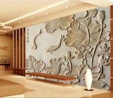 3D pietra pesce Parete Murale Foto Carta da parati immagine sfondo muro stampa