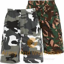 Mens Camo Combat Jog Shorts Fleece Army Jogging Sweat Pants Elasticated Waist
