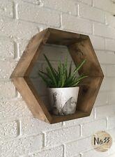Handmade Wooden Hexagon Wall Shelf in Oak Colour