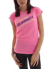 Local Celebrity T-Shirt Tee Logo Shirt rosa Schrift Rundhals Basic