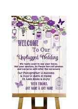 Vintage Wood Effect Unplugged Wedding No Phones Personalised Wedding Sign