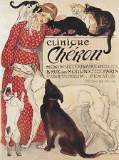 VINTAGE CAT DOG PRINT POSTER Clinique Cheron Theophile-Alexandre Steinlen 36x26