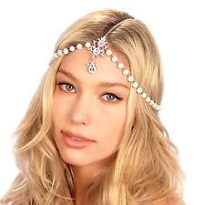 Kristin Perry Crystal Pearl Tikka Chain Bridal Headpiece Grecian Hair Jewelry
