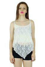 Bimba Women Speghatti Strap Crop Top Net, Holiday Clothing White Blouse